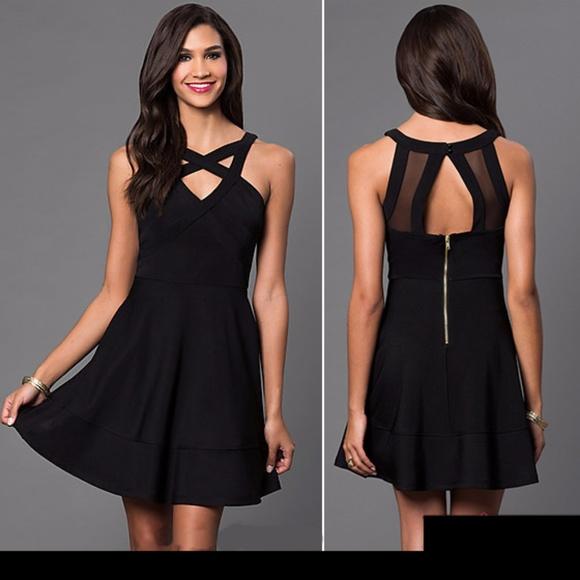 Emerald Sundae Dresses Semiformal Flirty Black Dress W Sheer Back